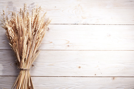 Espigas de trigo en la mesa de madera vieja. Foto de archivo