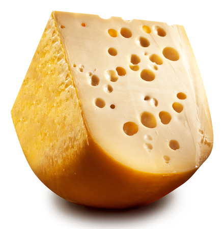 emmental: Quarter of Emmental cheese head isolated on a white background. Clipping paths.