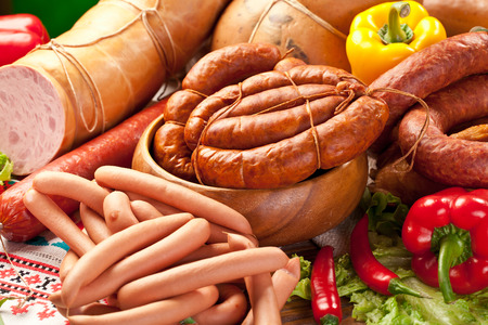 processed: Variety of sausage products. Close-up shot.