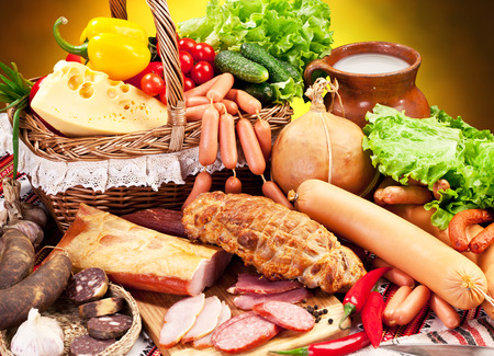 Variety of sausage products. Close-up shot. Stock Photo