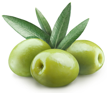Three green olives .File contains clipping paths.