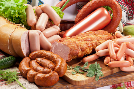 butcher shop: Variety of sausage products. Close-up shot.