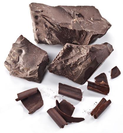 chunk: Chocolate blocks isolated on a white background. Stock Photo