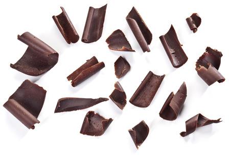 Schokoladen-Chips auf einem weißen Hintergrund. Standard-Bild