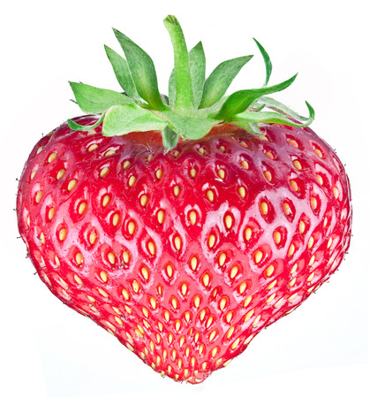 One rich strawberry fruit  in the form of heart isolated on a white background. photo