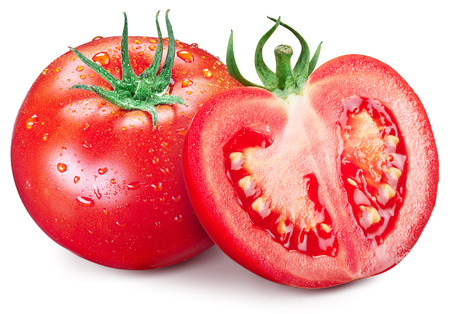 Hole tomato and half with water drops on them. Isolated on a white background. Stock Photo
