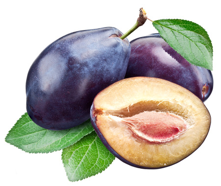 objects with clipping paths: Three plums with leaf. File contains clipping paths. Stock Photo