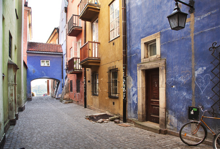restaurant exterior: Narrow streets of Old Town, Warsaw Stock Photo
