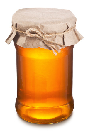 objects with clipping paths: Glass can full of honey. Clipping paths.