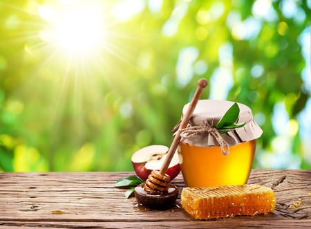 Glass can full of honey, apple and combs on wooden table at the nature background. Stock Photo