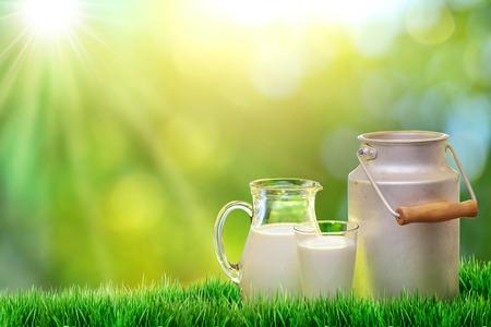 新鮮な有機牛乳。自然の背景。