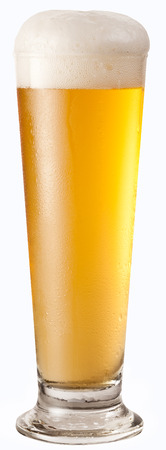 clipping  path: Glass of beer isolated on white background. Clipping path. Stock Photo