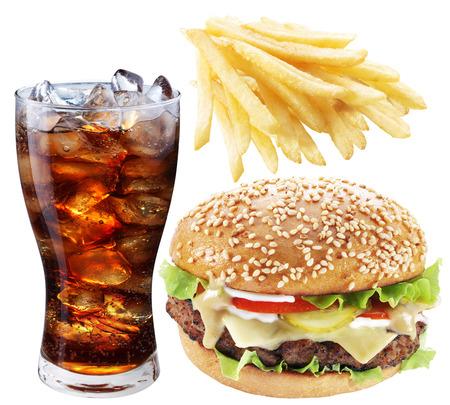 fast meal: Hamburger, potato fries, cola drink. Takeaway food.  Stock Photo