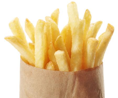 Potato - french fries on a white background. Takeaway food. Фото со стока