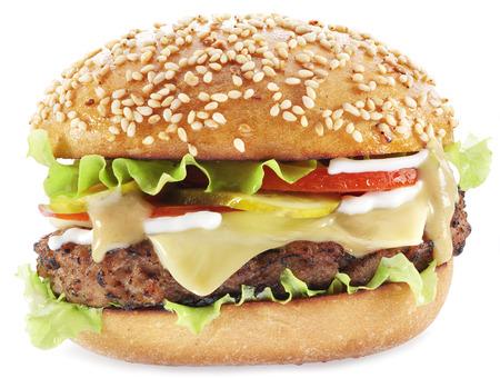 Hamburger isolated on a white background. Stock Photo