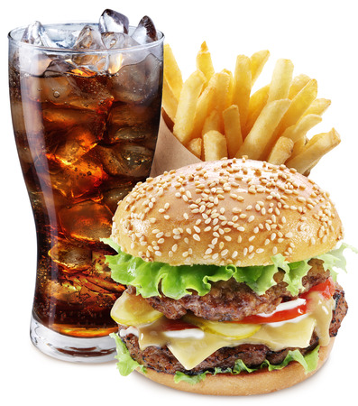 Hamburger, potato fries, cola drink. Takeaway food.  Stockfoto