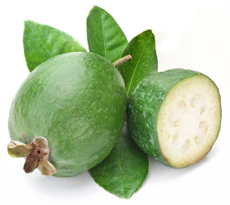 feijoa: Feijoa with leaves on a white background.
