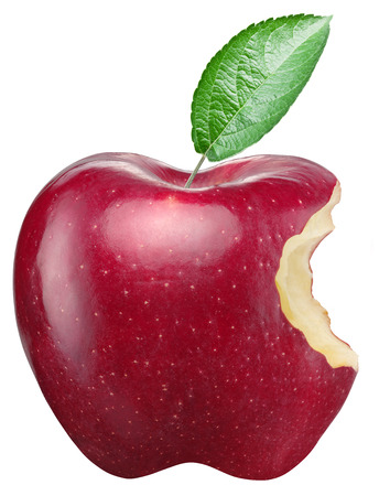 흰색 배경에 빨간 사과입니다. 스톡 콘텐츠