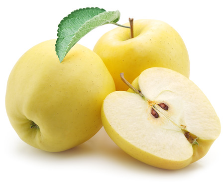 Yellow apples on a white background. Stock Photo