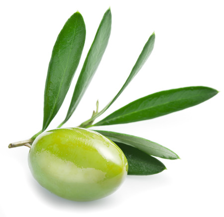 Olive with leaves on a white background. Foto de archivo