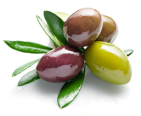 olive green: Olives with leaves on a white background.