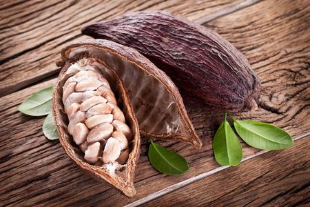cocoa fruit: Cocoa pod on a dark wooden table.