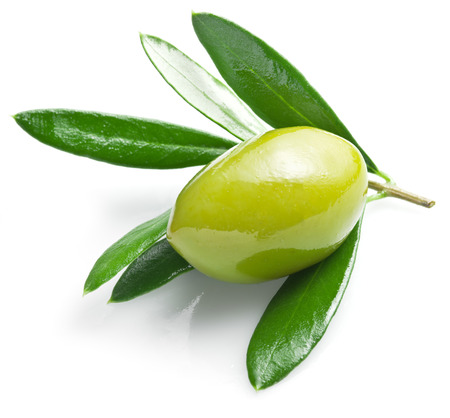 Green olive with leaves on a white background.
