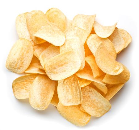 prepared potato: Potato chips isolated white background. Stock Photo
