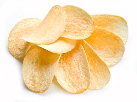 Potato chips isolated white . Фото со стока