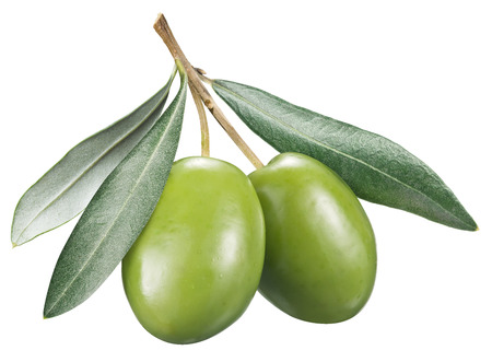 Green olives with leaves on a white