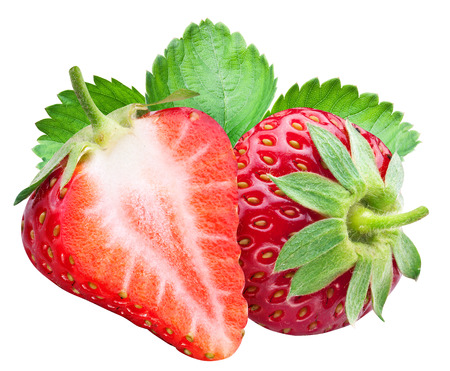 clipping: Stawberry and a half of berry. File contains clipping paths. Stock Photo