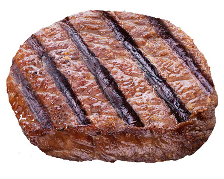 animal blood: Beef steak isolated on a white background.