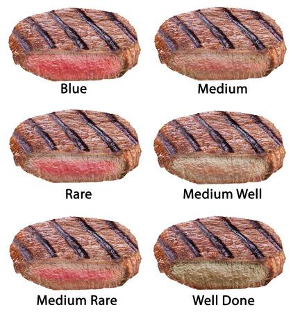 흰색 배경에 고립 된 쇠고기 스테이크의 다른 유형입니다. 스톡 콘텐츠