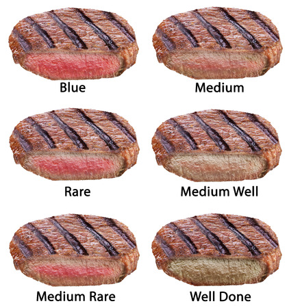 different types of beef steaks isolated on a white background stock