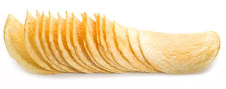 potato chip: Potato chips isolated white background. Stock Photo