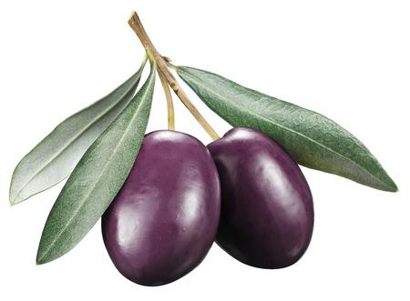 kalamata: Kalamata olives with leaves on a white background.  Stock Photo