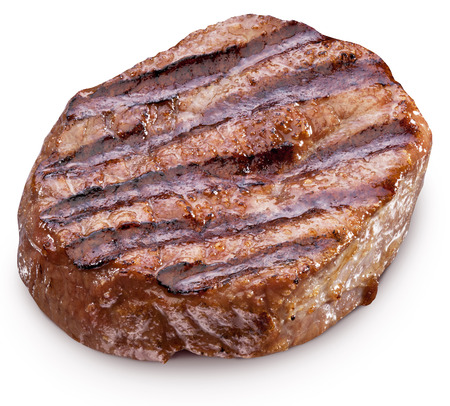 well done: Beef steak isolated on a white background. File contains clipping paths.