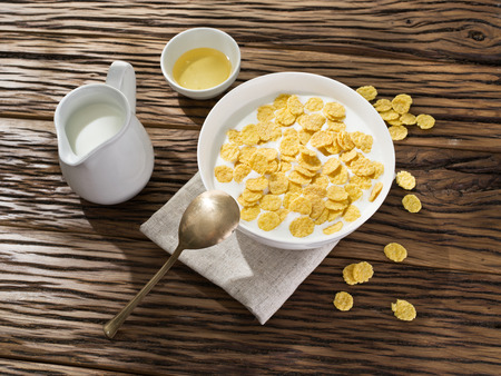 morning breakfast: Cornflakes cereal and milk. Morning breakfast.