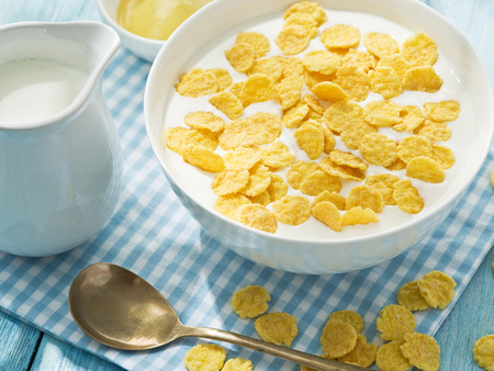 cornflakes: Cornflakes cereal and milk.  Stock Photo