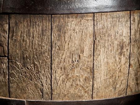 wine testing: Old oak wine barrel. Close-up shot. Stock Photo