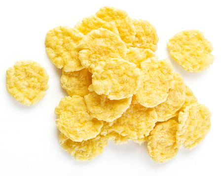 corn meal: Cornflakes on a white background.