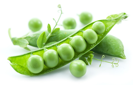 Open pea pod on a white background.