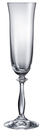 objects with clipping paths: Empty champagne glass isolated on a white background. File contains clipping paths.