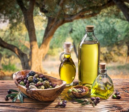 rama de olivo: Las aceitunas y el aceite de oliva en una botella en el fondo del olivar noche. Foto de archivo