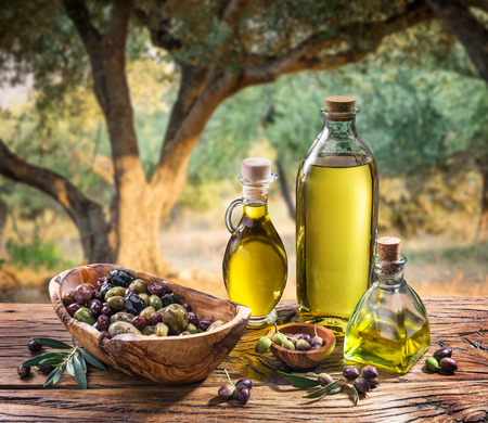 Olives and olive oil in a bottle on the background of the evening olive grove. Stockfoto