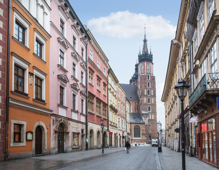 Streets of The Old Town in Krakow. Stock Photo