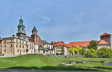 courtyard: Wawel courtyard. Old Town in Krakow. Stock Photo