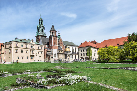 old town: Wawel courtyard. Old Town in Krakow. Stock Photo