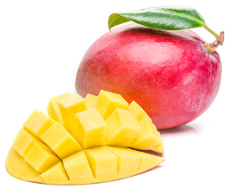 mango fruit: Mango fruit and mango cubes on the white background. The picture of high quality. Stock Photo