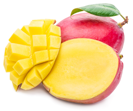 sliced fruit: Mango fruit and mango cubes. The picture of high quality. Mango fruit and mango cubes on the white background. Stock Photo